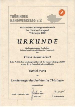 Landessieger im Jahre 2000 im Parkettlegerhandwerk von Thüringen