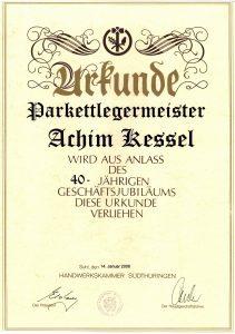 Urkunde 40 Jahre Jubiläum