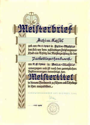 Achim Kessel ist berechtigt den Meistertitel seit 1.9.1966 zu tragen