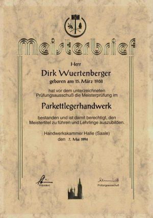 Meisterbrief im Parkettlegerhandwerk