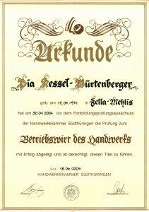Urkunde Betriebswirt im Handwerk