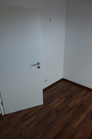 weiße Wohnraumtüren passend zum dunklen Parkettboden