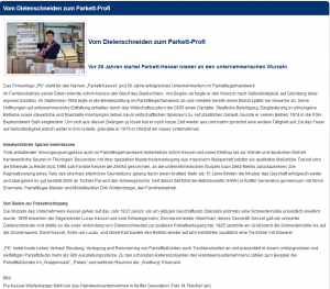"""HWZ Südthüringen: Artikel """"Vom Dielenschneider zum Parkett Profi"""""""